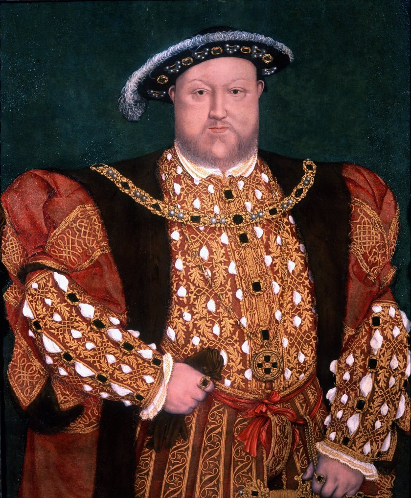 A painting of King Henry VIII wearing royal gowns