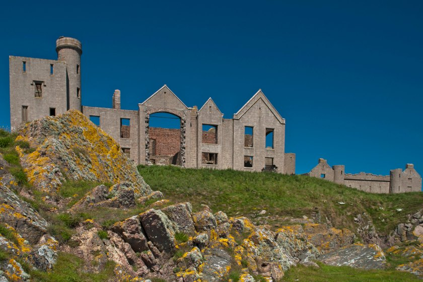 The ruins of Slains castle which occupies a rugged landscape