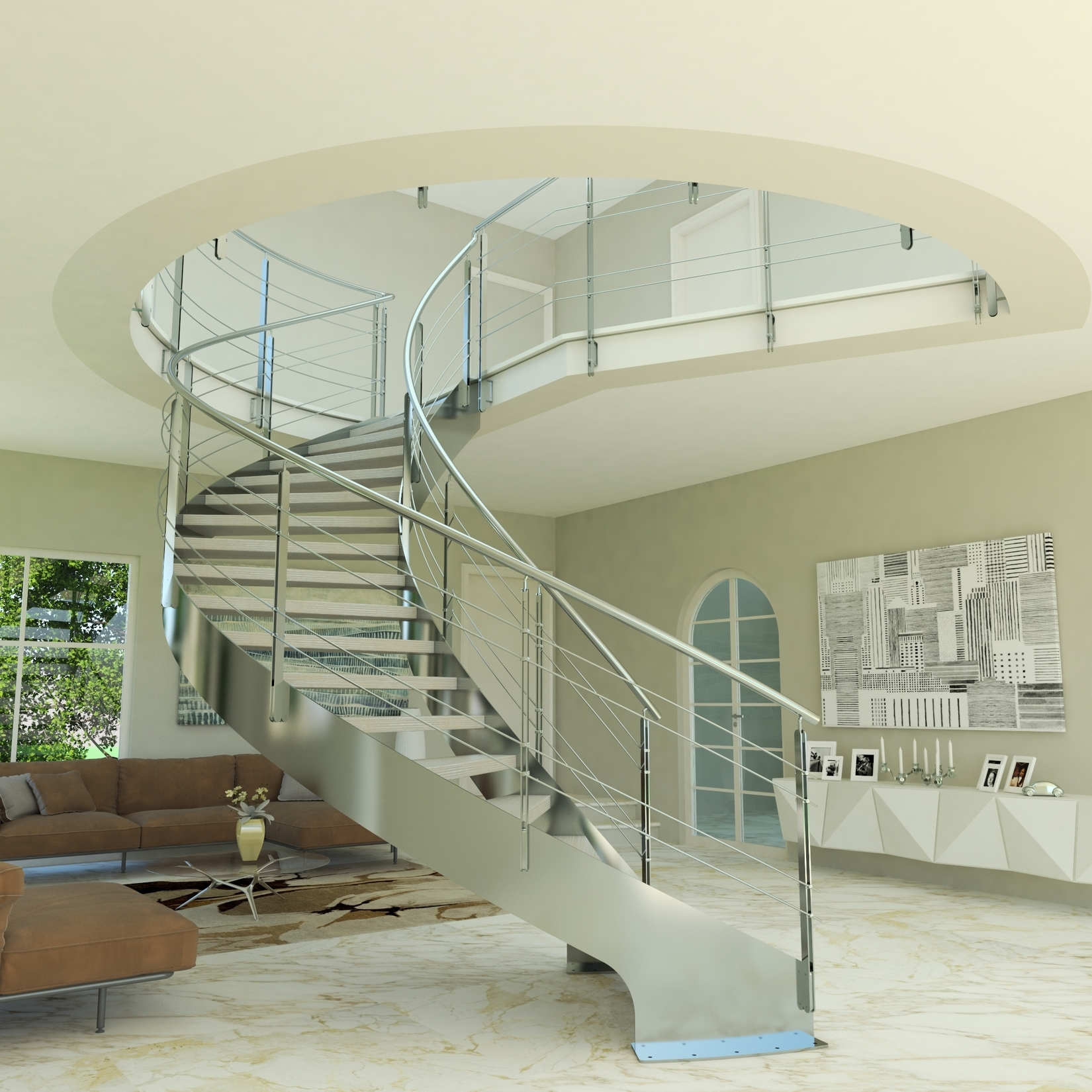 Steel Staircase Design Helika Inox Helical Staircase Cast Scale | Staircase Design Steel And Wood | Angle Bar Stair | U Shaped Stair | Simple | Wooden Step | Open