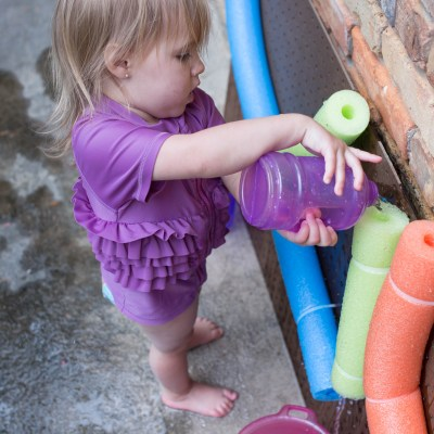 DIY Toddler Pool Noodle Water Wall