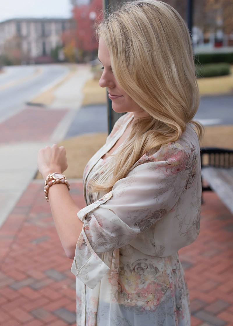Floral top and ane klein watch and bracelet set