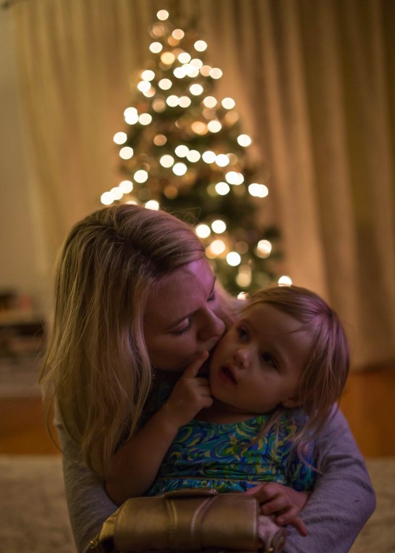 christmas tree bokah mom and daughter