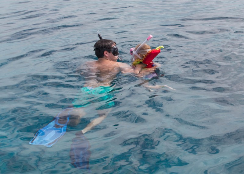 toddler and dad scuba diving Turks