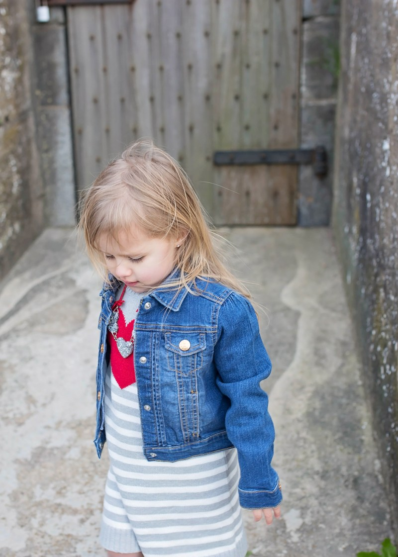Valentines outfits for children from Crazy 8: cute toddler girl jean jacket