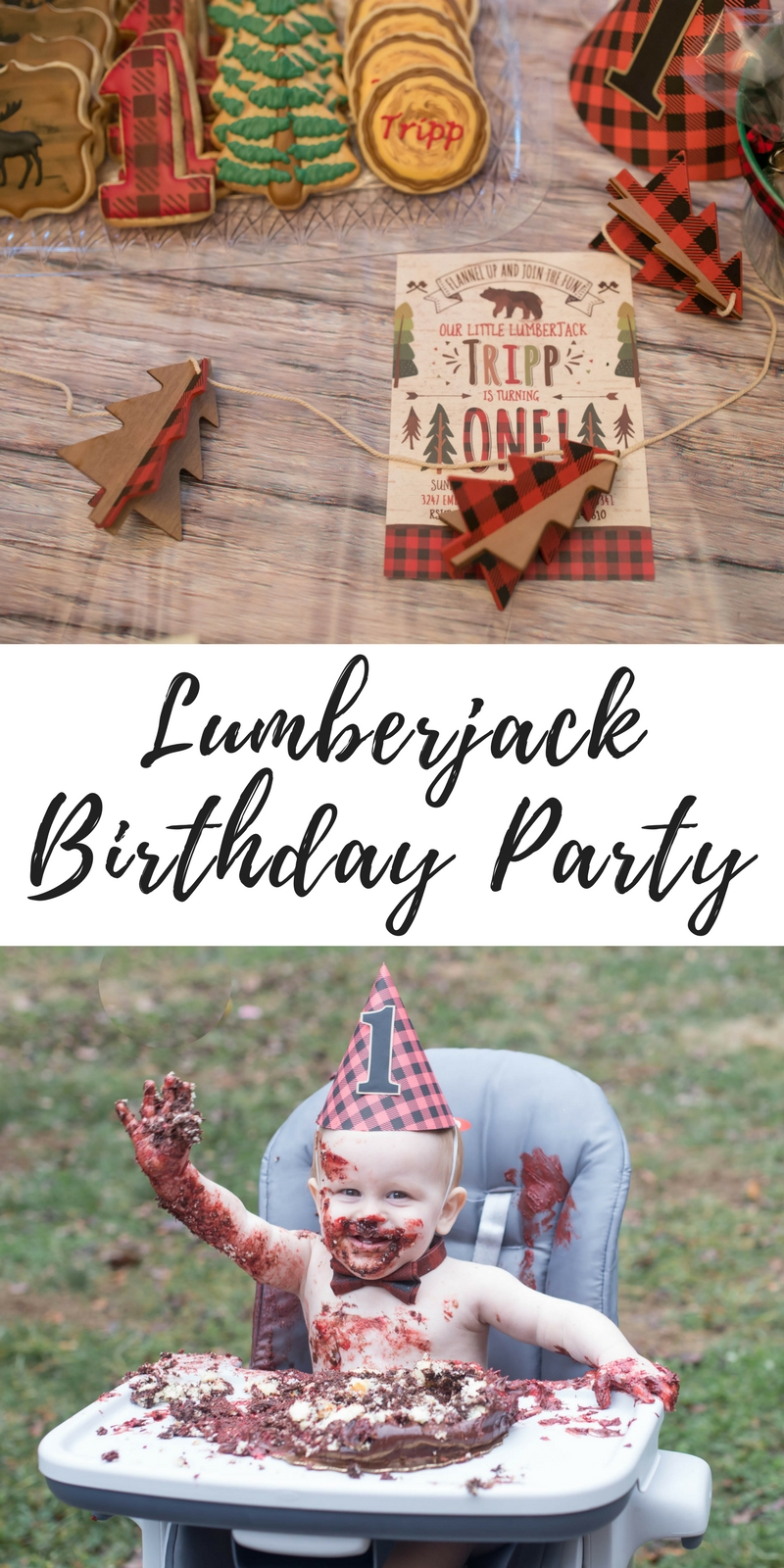 The perfect lumberjack themed first birthday party // birthday party ideas // first birthday themes // buffalo plaid // winter party ideas