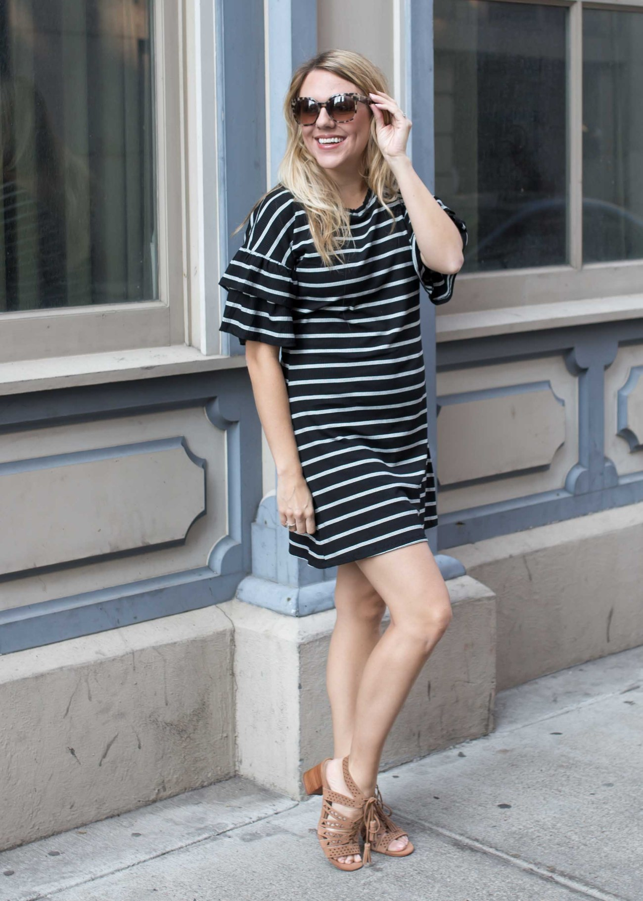 striped ruffle sleeve dress and lace up sandals // fall outfit inspiration