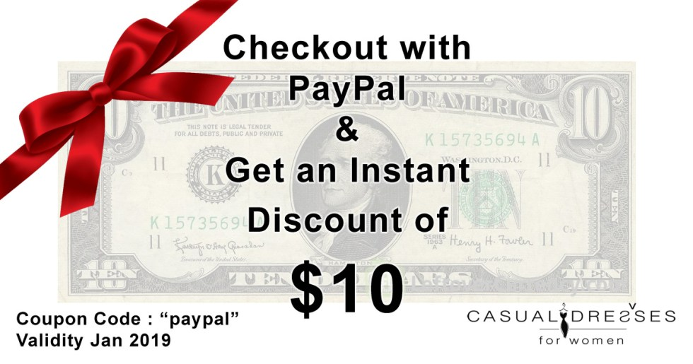 PayPal-Discount-Offer of casual dresses for women