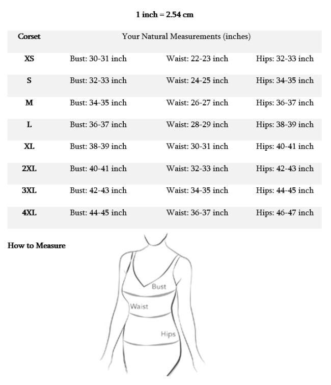 CDFW-Corset Size Chart-shirts for women