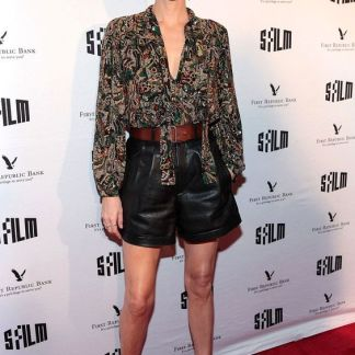 Charlize Theron Black Flowy Shorts