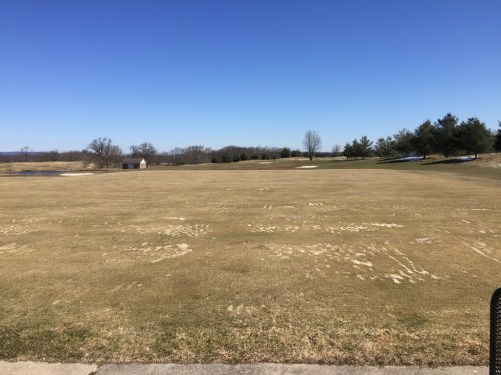 Driving range at Heron Glen. On dry days, players can hit off grass. If the course is cart path only, they have mats to hit from.