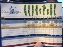 Heron Glen scorecard has pictures of the hole layouts with trap and preferred play line.
