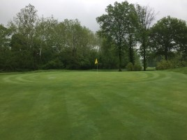Green at the end of the 555 yard par 5 15th hole.