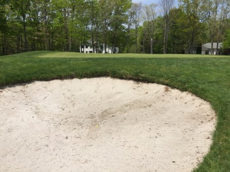 Tough ship shout out of 14th trap which took 3 attempts due to wet sand.
