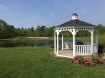 Gazebo offers view of players on the 9th green.