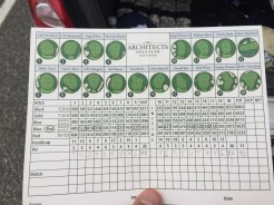 Inside of scorecard shows pin locations long with architect of each hole.