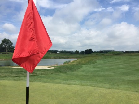 Looking back down the fairway of 1st hole Lakes course.