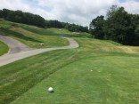 Uphill tee shot on 2nd Lakes hole.