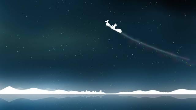 サンタクロースが空飛ぶイラスト