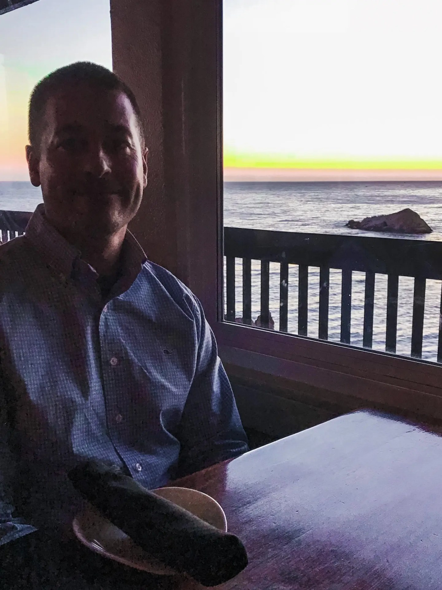 My adorable husband Josh at Ventana Grille, after the sun had set.