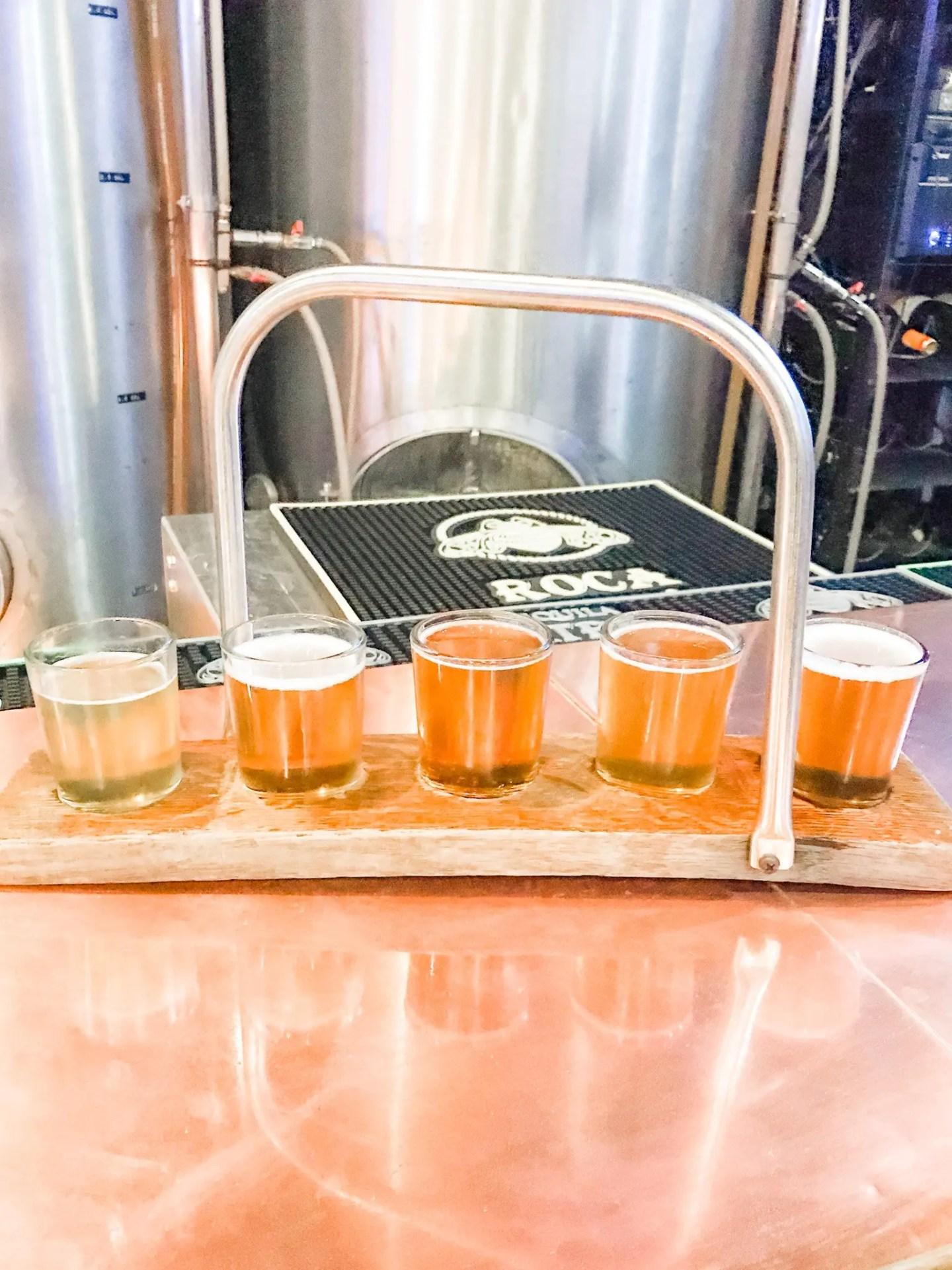 Beer flight at Santa Barbara Brewing Company (no longer in business).