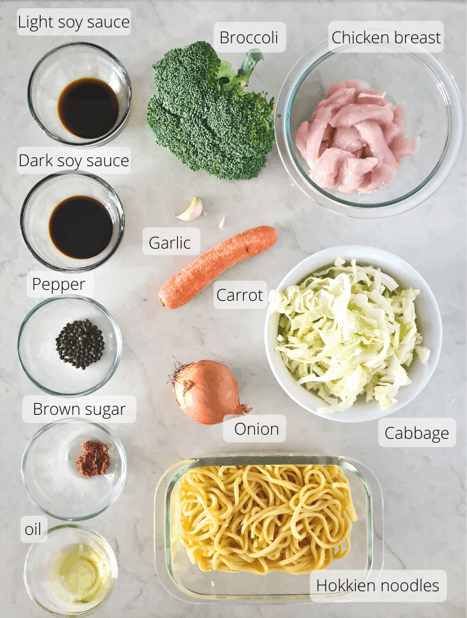 Ingredients for healthy, budget-friendly chicken noodle stir fry.