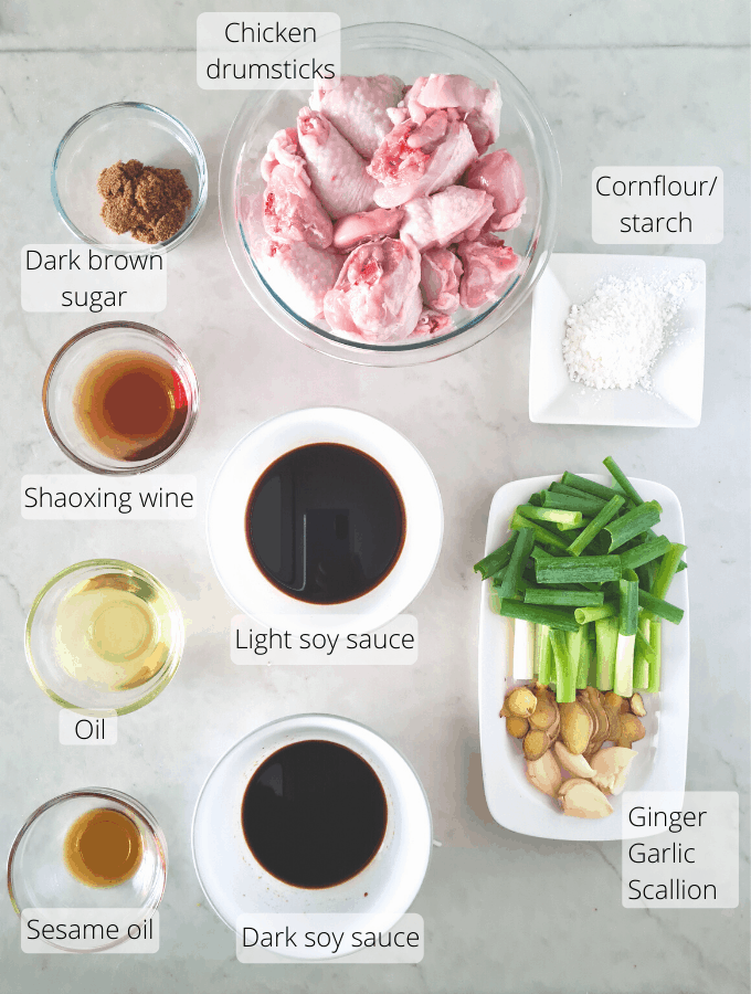 Image of all the ingredients required to make soy sauce chicken.