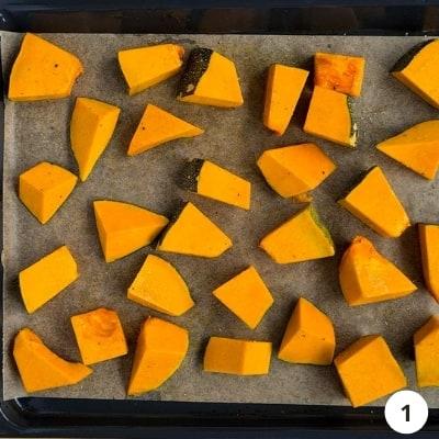 Tray of chopped pumpkin