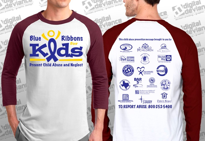 "Adult ""Blue Ribbons for Kids"" 3qtr Tee"