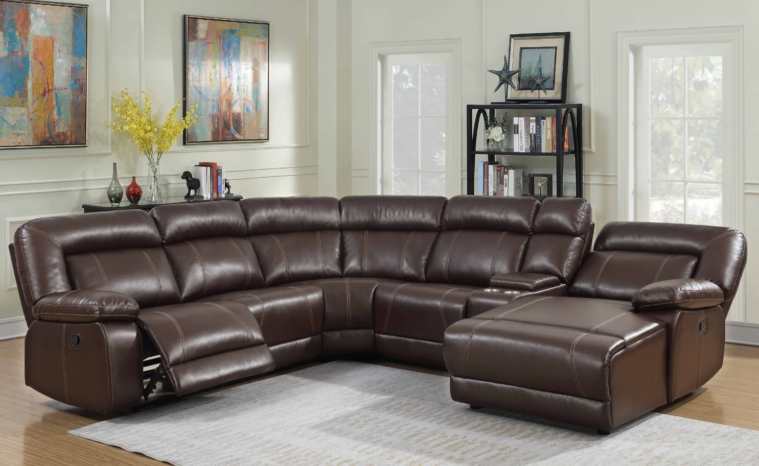 sectional w 2 recliners chaise storage cup holders 8002mg