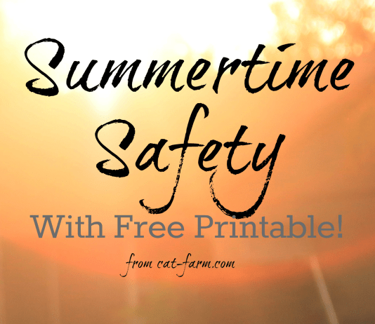 Heat safety for summertime with free printable.