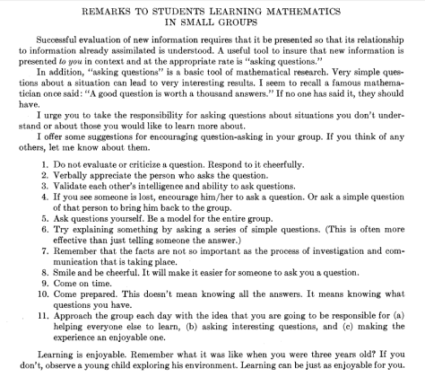Remarks to Students Learning Mathematics in Small Groups
