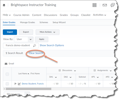 Manage Grades tab with Clear Search link identified