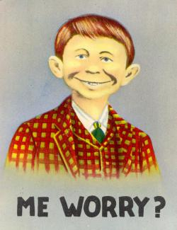 """A postcard with the public domain """"me worry?"""" face that later inspired Mad magazine's Alfred E. Neuman."""