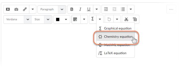 HTML Editor Chemistry Equation Writing Function