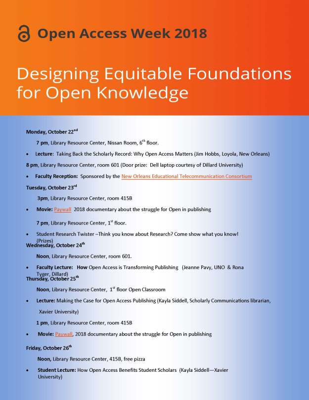 Open Access Week Schedule