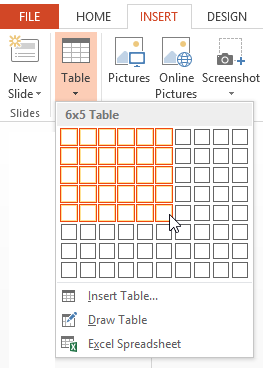 insert table in PowerPoint