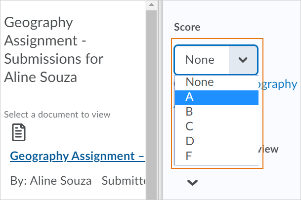 Select a letter grade when assessing an assignment submission