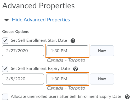 Example of setting exact time when enrollment opens and expires