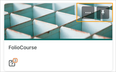 The Courses screen displaying a pinned course tile with the ellipses and pin icons