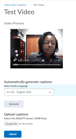Example of adding captions to Video Notes
