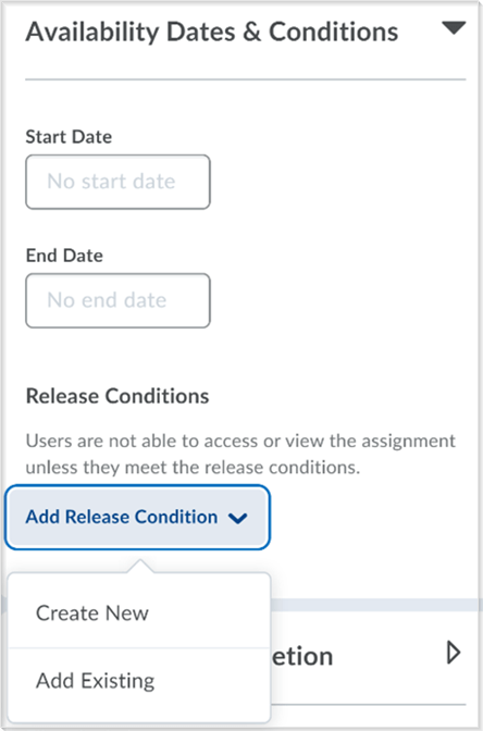 Example of the create and edit Assignments page with the Release Conditions functionality