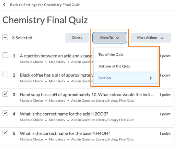 The Move To option is visible once quiz questions are selected
