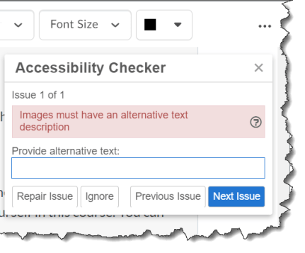 accessibility issues detected