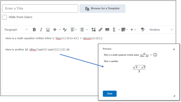 A Content topic with some inline LaTex equations and a learner's view of the equations