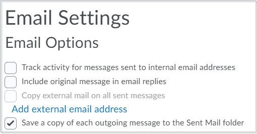 The Email Settings page before this email setup improvement