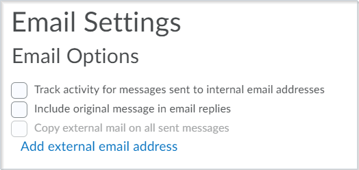 The Email Settings page after this email setup improvement
