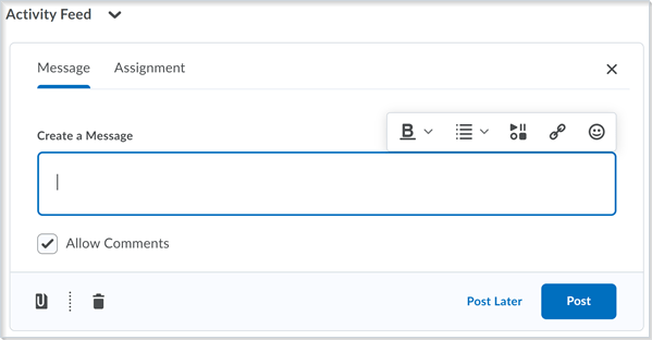 The updated inline limited version of Brightspace Editor in Activity Feed