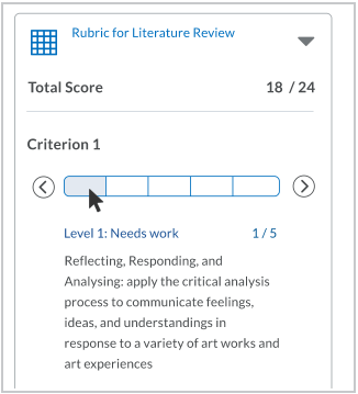 If the hover pointer is on a level, the name, description, and score appear in the level information area below the slider.