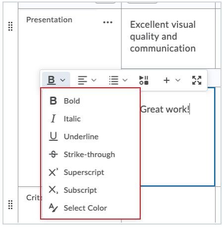 The Brightspace Editor in the Rubrics Feedback field