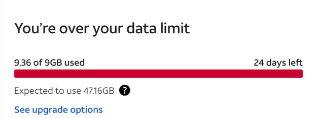A message from AT&T that we've gone over our data cap.